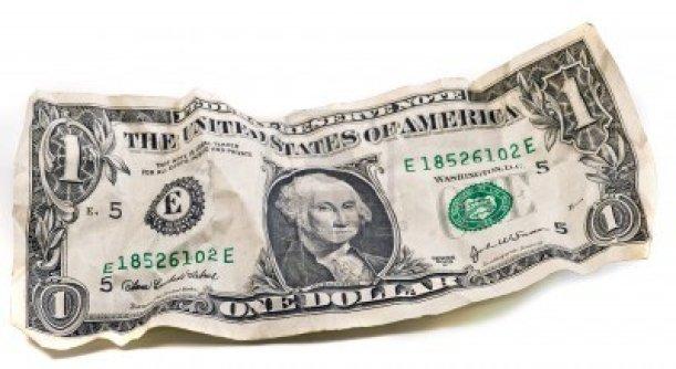 dollar crumpled